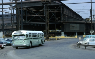 """Looking in the other direction, an inbound bus enters the Shipyard turnaround, which was something different than """"Shipyard Circle."""""""